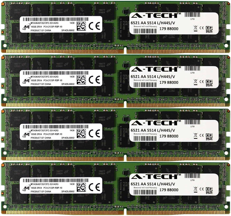 A-Tech Micron IC DDR4 64GB Kit 4X 16GB 2Rx4 PC4-17000 Dell PowerEdge R730xd R730 R630 T630 R430 R530 C4130 SNP1R8CRC/16G A7910488 A7945660 370-ABUK SNP1R8CRC/16G-A1 1R8CR RDWTP 01R8CR Memory RAM