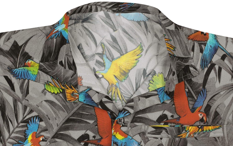 LA LEELA Mens Relaxed Funky Hawaiian Shirt Short Sleeve Front Pocket Printed C
