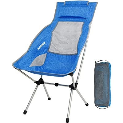 MARCHWAY Lightweight Folding High Back Camping Chair with Headrest, Portable Compact for Outdoor Camp, Travel, Picnic, Festival, Hiking, Backpacking (Light Blue) : Sports & Outdoors