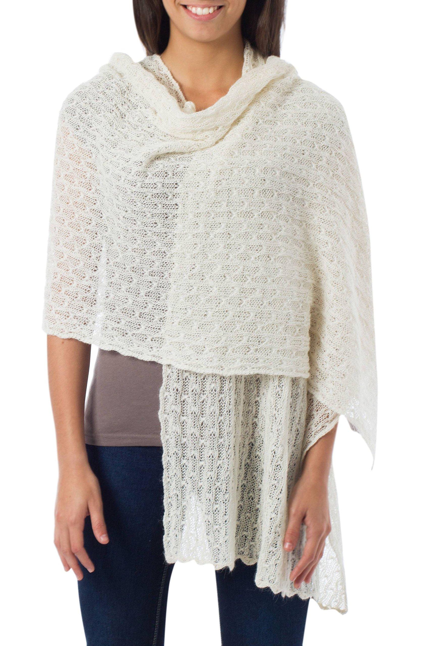 NOVICA White Baby Alpaca Wool Blend White Knit Shawl Wrap, 'Muse'