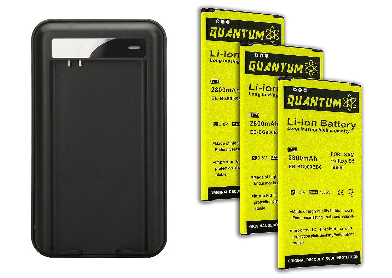 Amazon.com: 3x Baterías Quantum para Samsung Galaxy S5 + ...