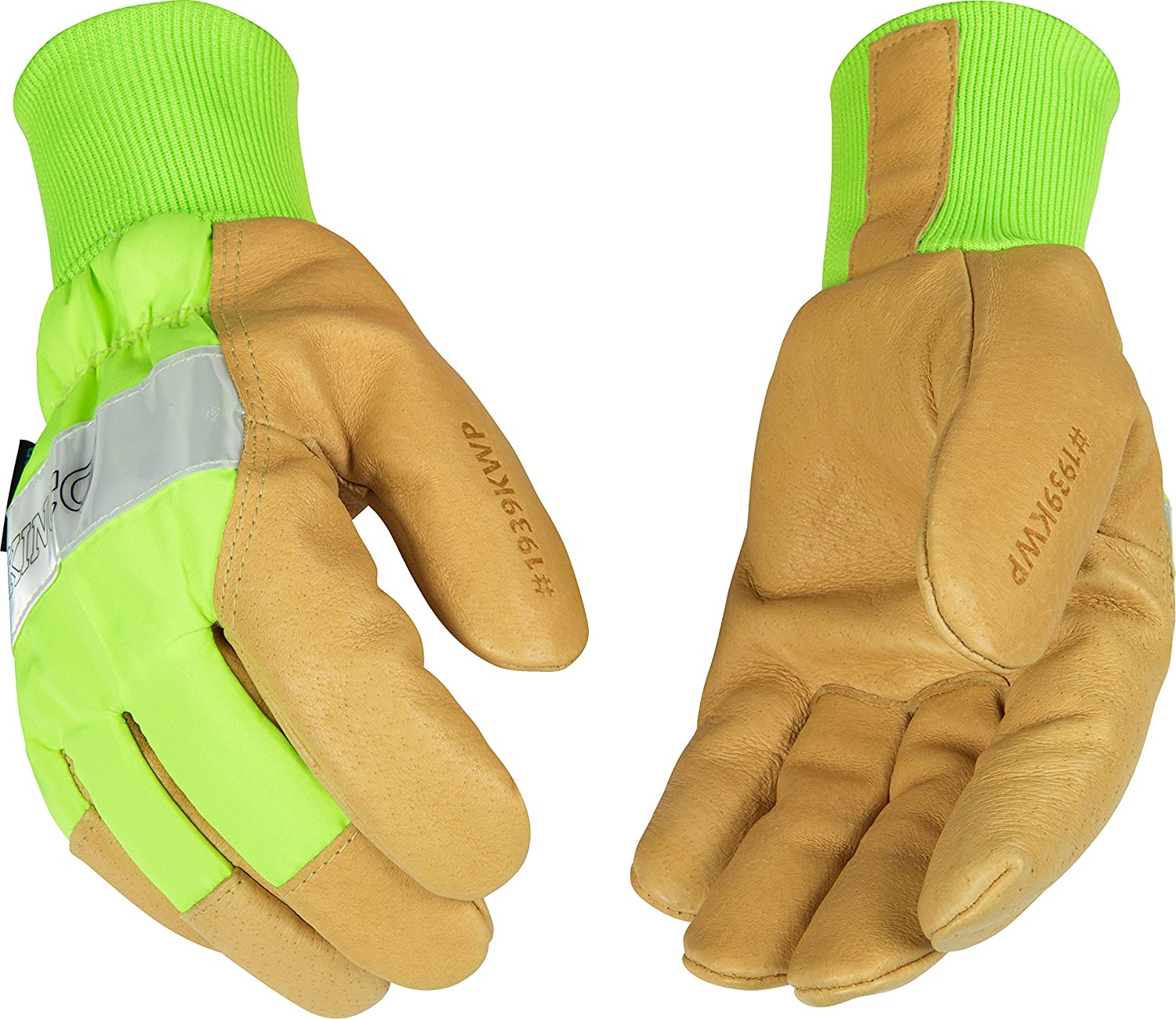 Kinco 1939KWP Heatkeep Lined Grain Pigskin Leather High Visibility Waterproof Glove with Green Back, Knit Wrist, Work, Medium, Palomino (Pack of 6 Pairs) by KINCO INTERNATIONAL B00AN7TZ0G