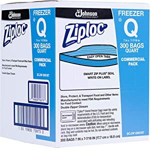 SC Johnson Professional, Ziploc Freezer Bags, For Food Organization and Storage, Double Zipper Seal, Easy-Open Tabs, Quart, 300 Count