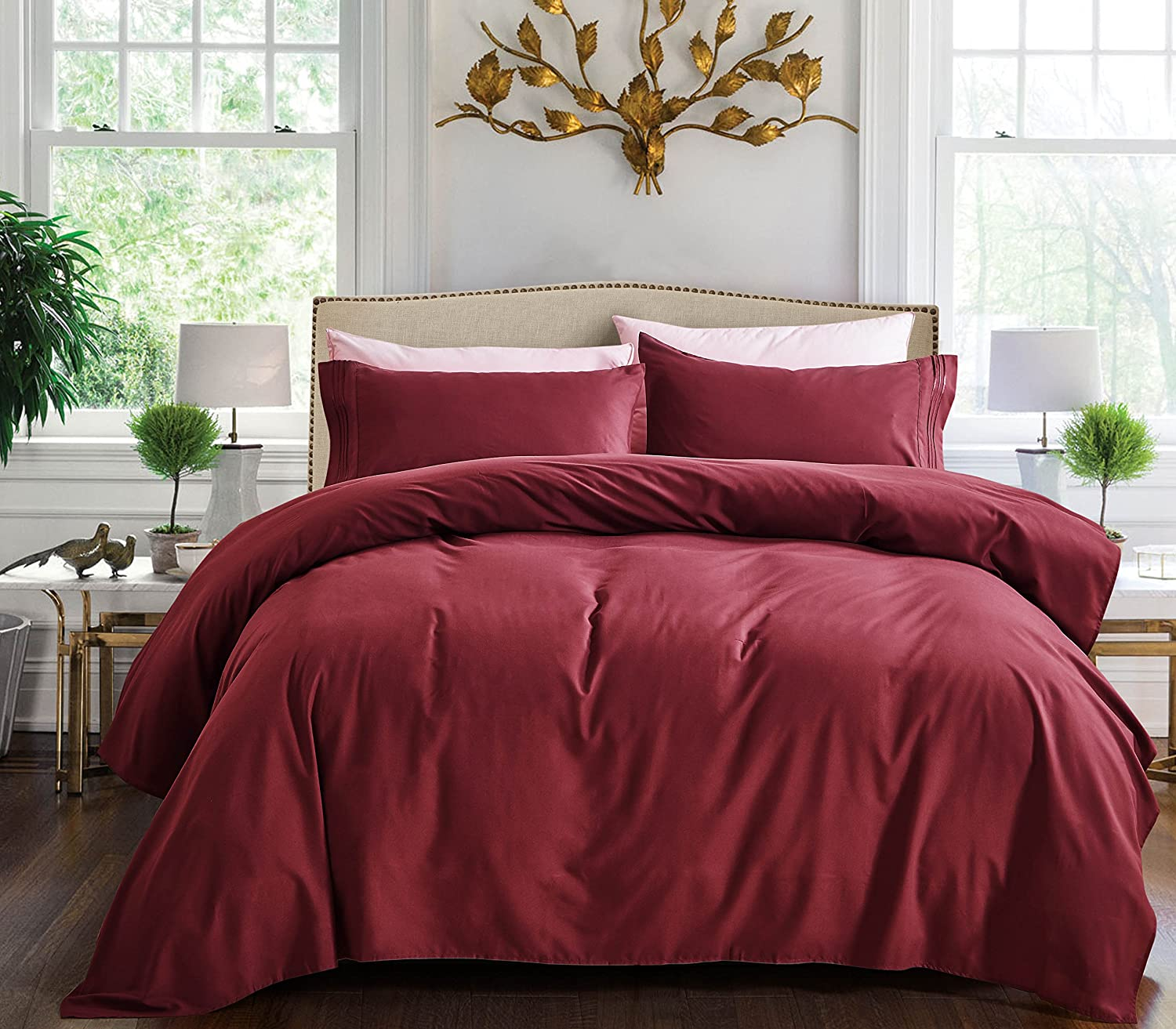 4 Piece Bed Sheet Set (Cal King, Burgundy)