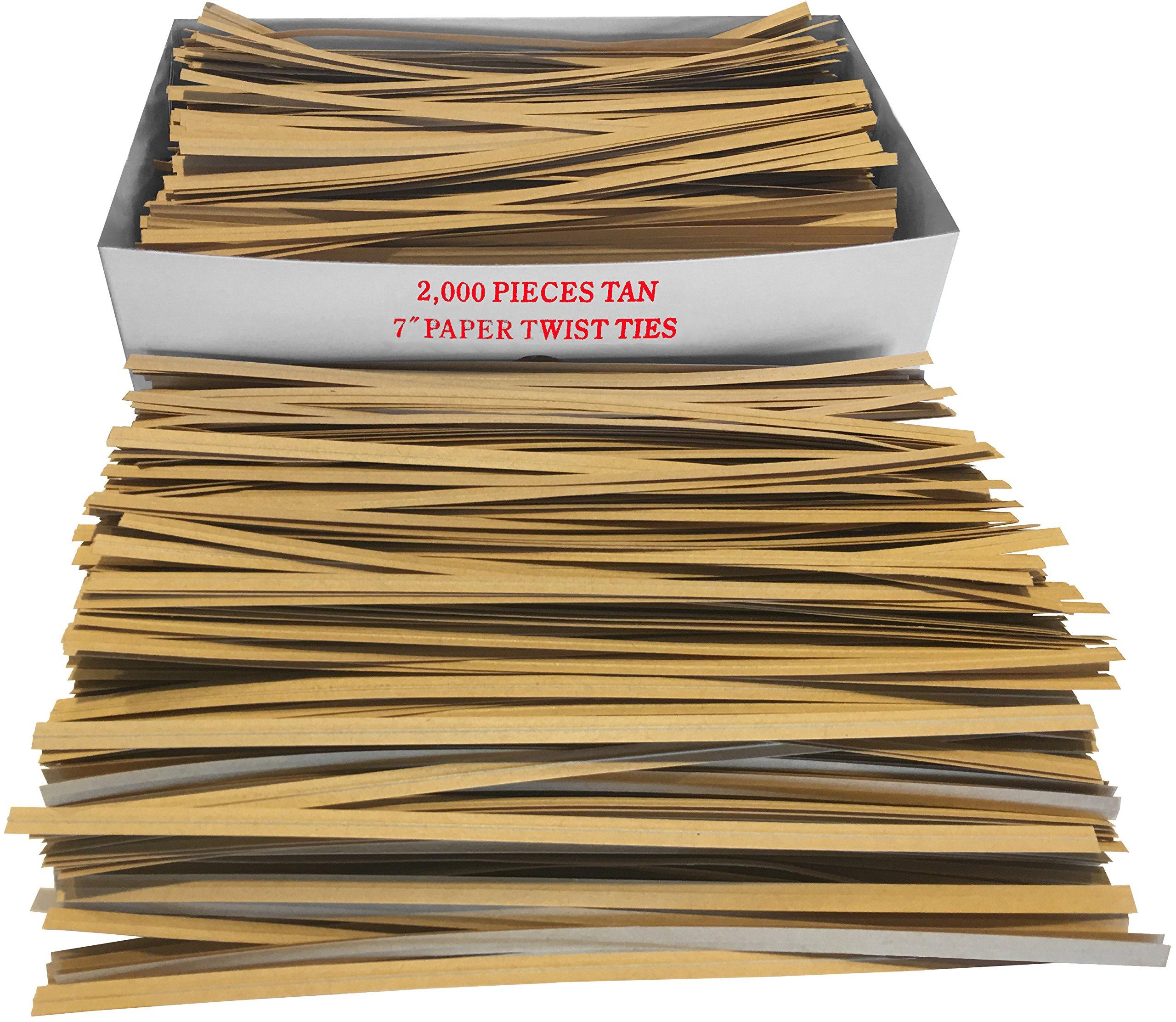 2000 Pack 7'' Long 3/16'' Wide Paper Coated Twist Ties (Kraft)