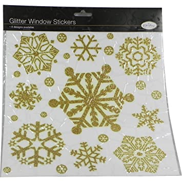 Christmas Snowflake Window Stickers In Gold Amazoncouk Kitchen - Snowflake window stickers amazon