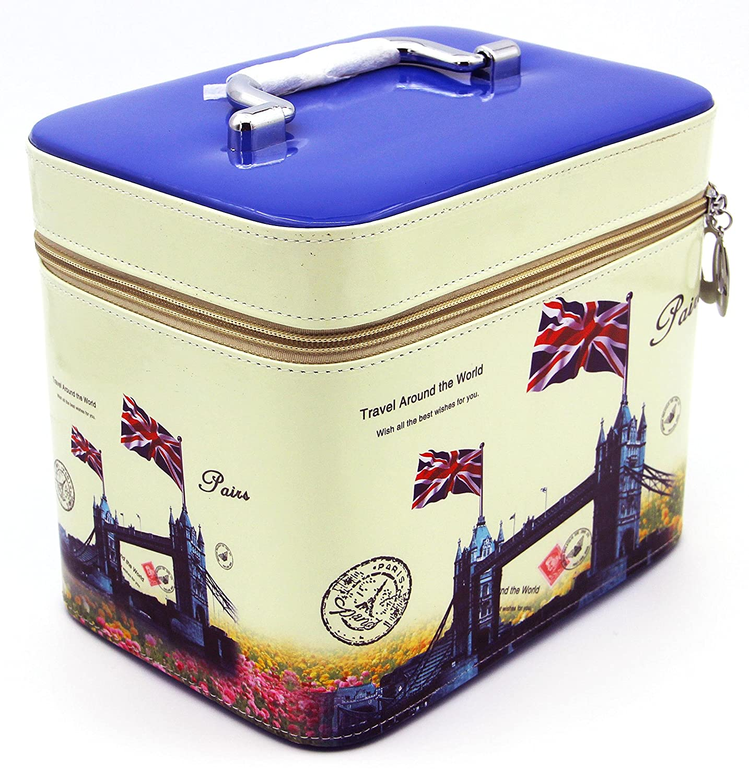 HOYOFO Cosmetics Bag and Makeup Train Case 2 Bags set ,Print Blue