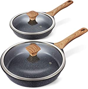 Miusco Nonstick Frying Pan Set with Lids, 10