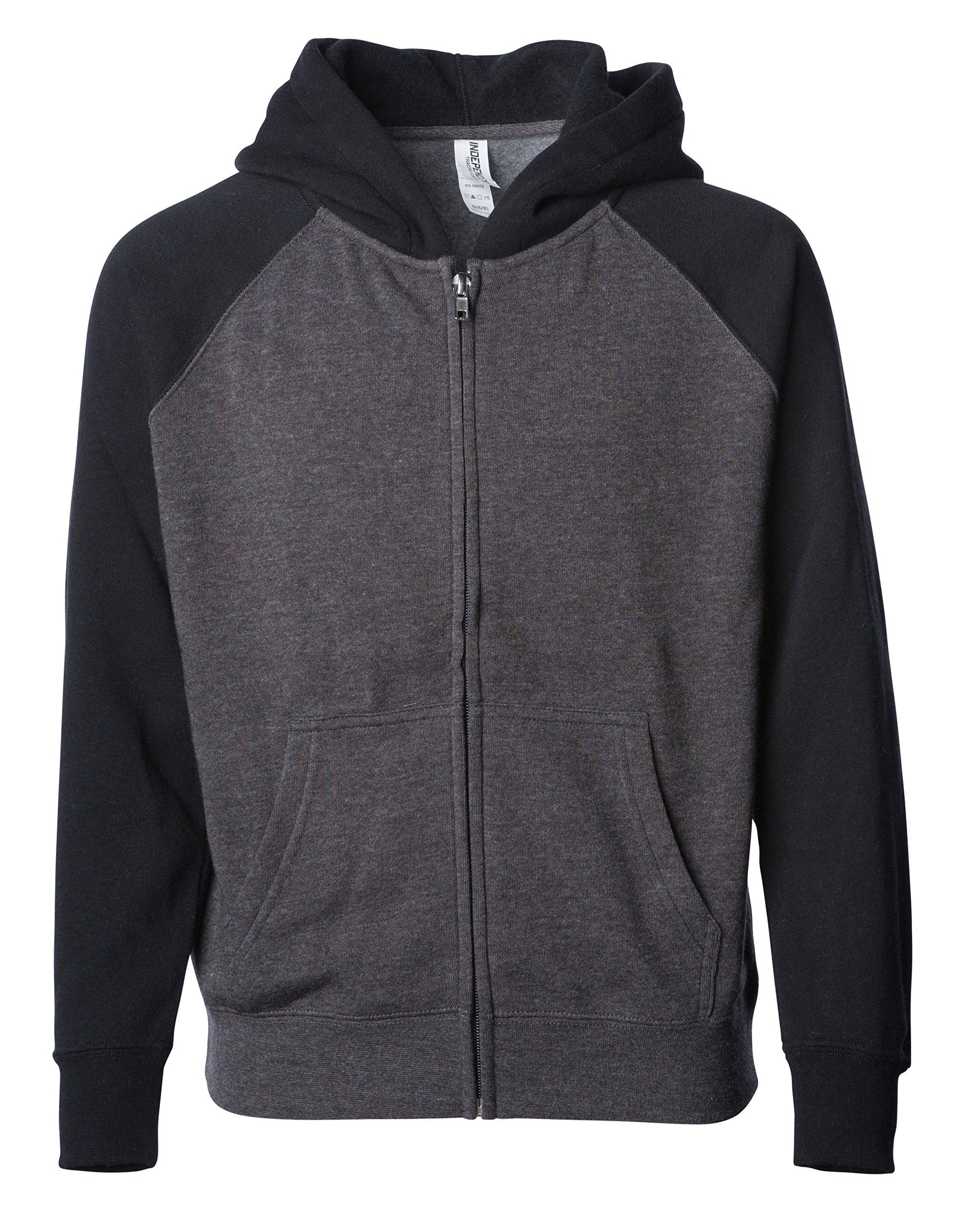 Childrens Lightweight Raglan Sleeve Zip Up Hoodie for Boys and Girls C/B Large Charcoal/Black