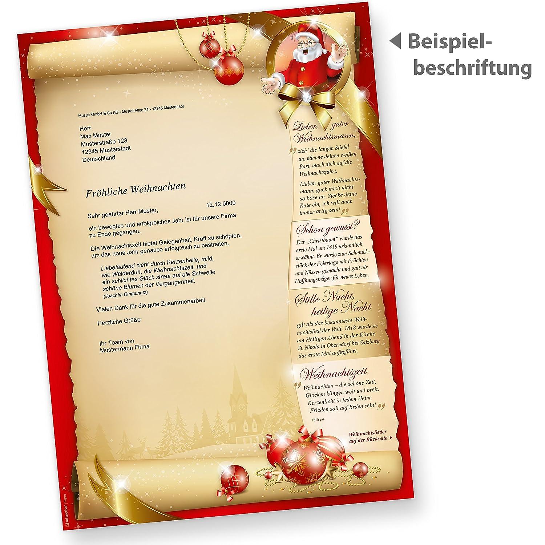 Briefpapier SANTA CLAUS beidseitig (50 Blatt) mit Gedichten, Infos ...