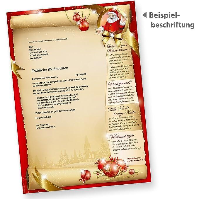 Briefpapier Set SANTA CLAUS Frohe Weihnachten beidseitig (25 Sets ...