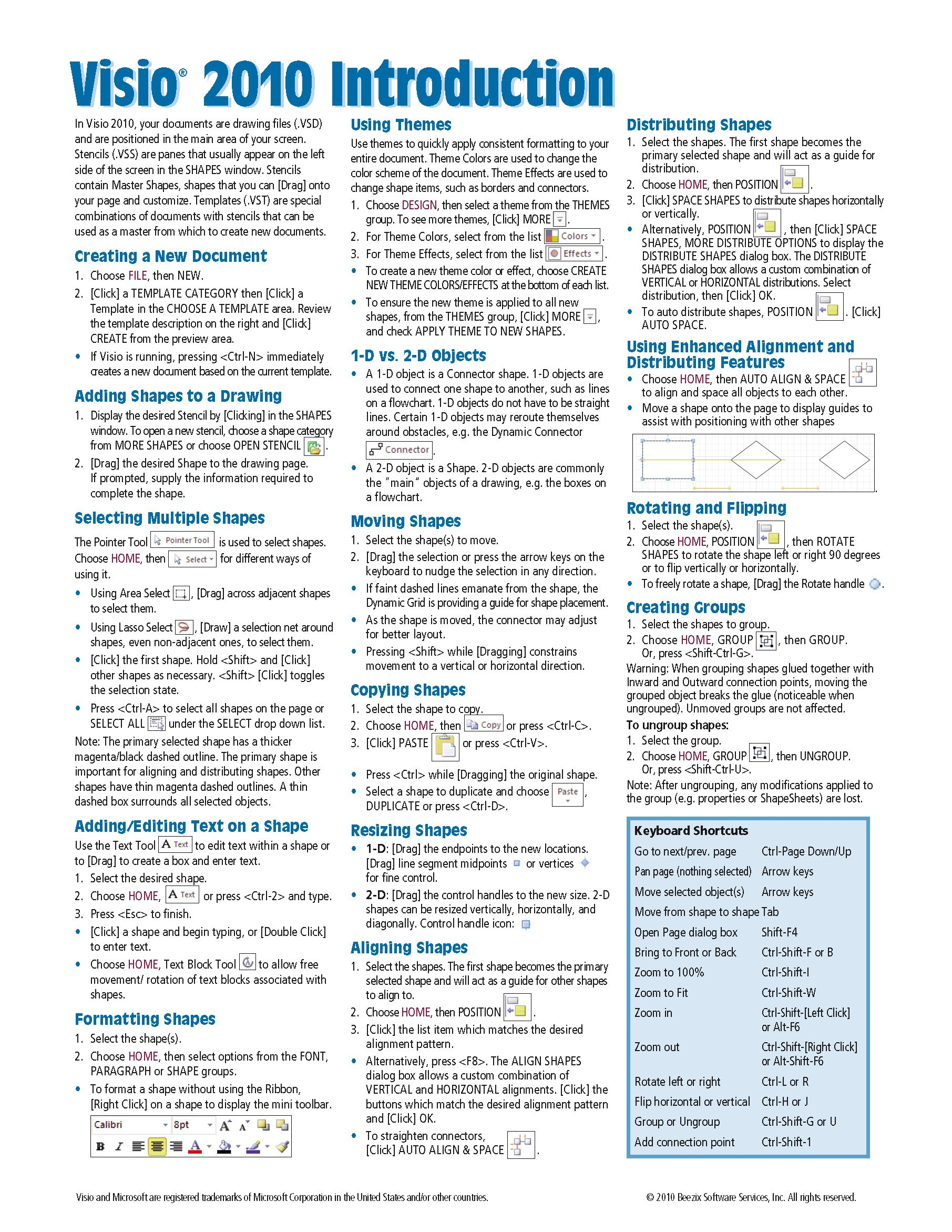 Microsoft Introduction Reference Instructions Shortcuts