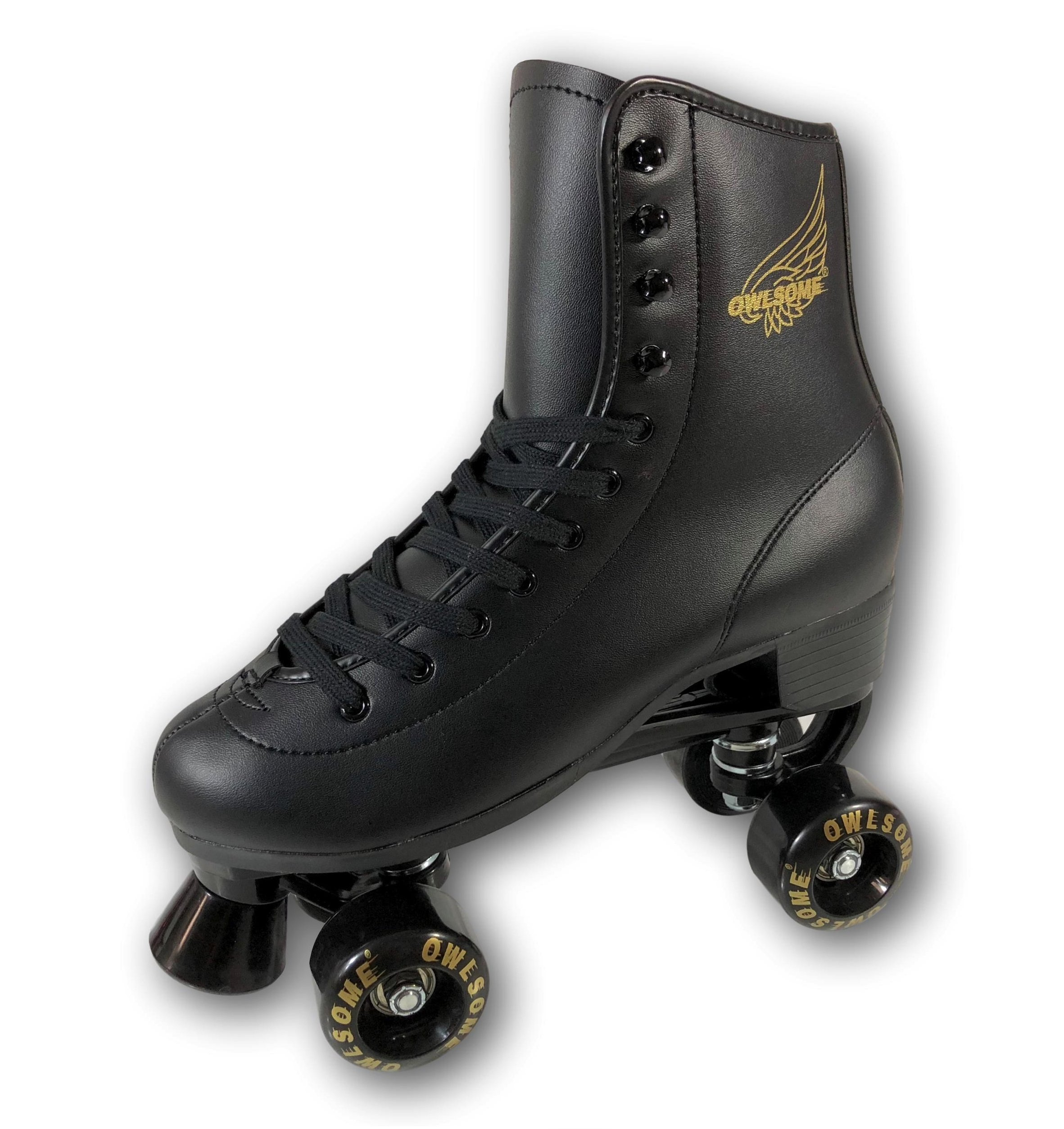 Owlsome Classic High Top Boot Style Soft Faux Leather Roller Skate For Adult & Youth (Black, 6 (9.75''/24.8cm))