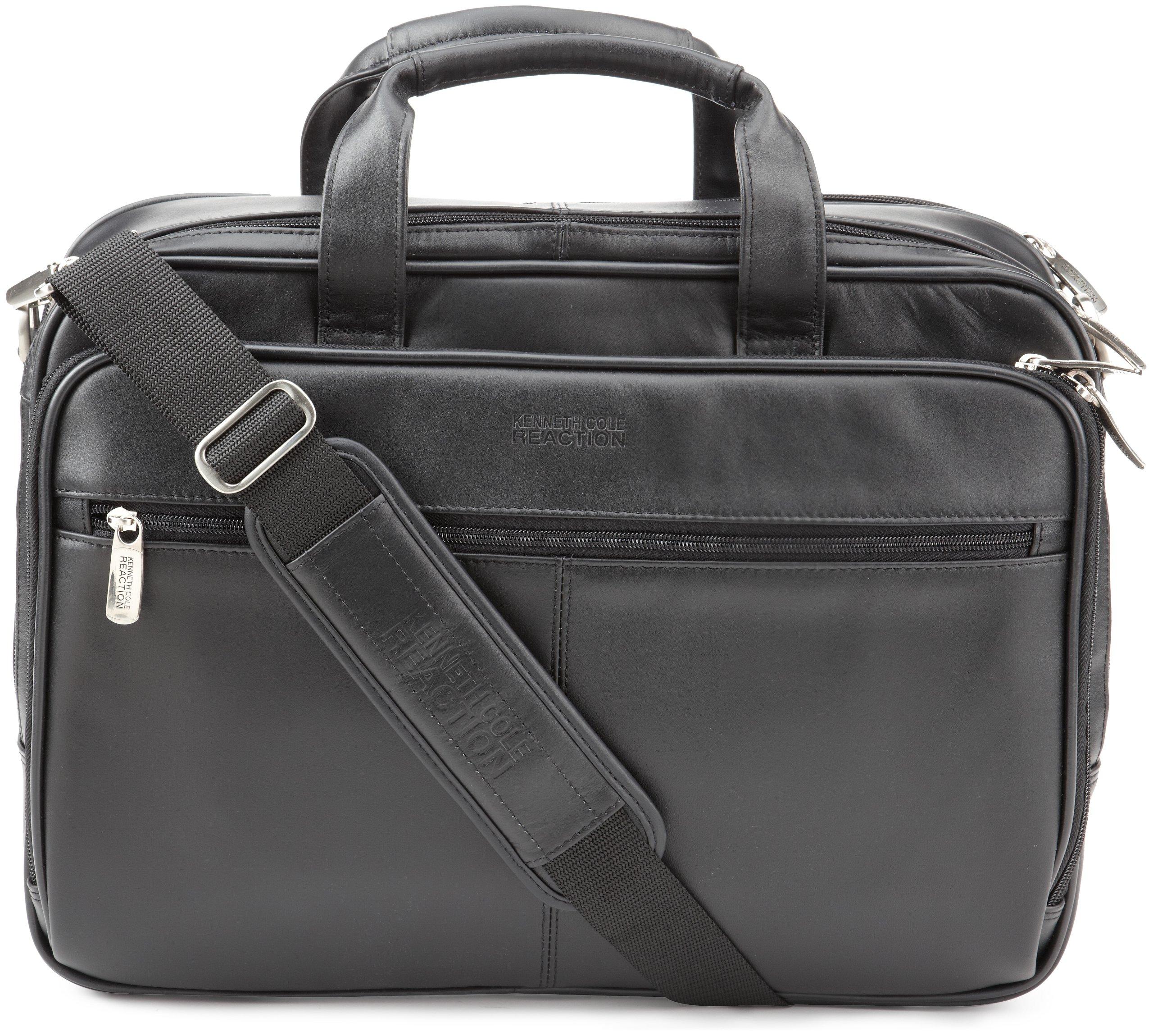 Kenneth Cole Leather Portfolio/Computer Case, Black, Fits 15.4'' laptop, Black, One Size
