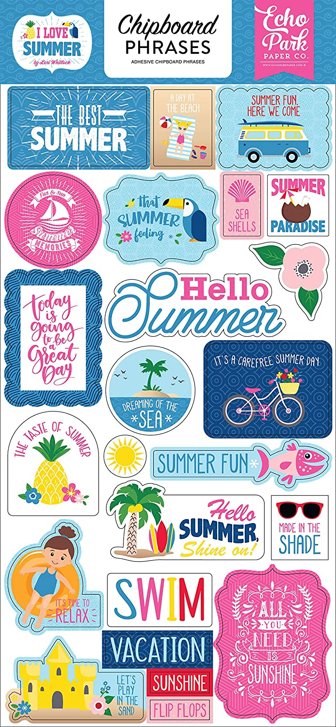 Pink Blue Yellow red Echo Park Paper Company SU178022 I Love Summer 6x13 Phrases chipboard Green Teal