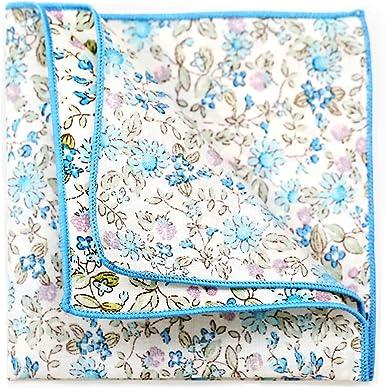 Ciabalù - Pañuelo de bolsillo para hombre blanco con flores azules ...