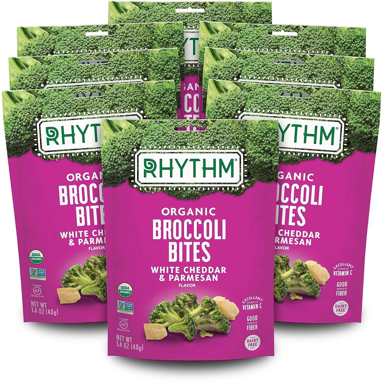 Rhythm Superfoods Crunchy Broccoli Bites, White Cheddar & Parmesan, Organic & Non-GMO, 1.4 Oz (Pack Of 8), Vegan/Gluten-Free Vegetable Superfood Snacks