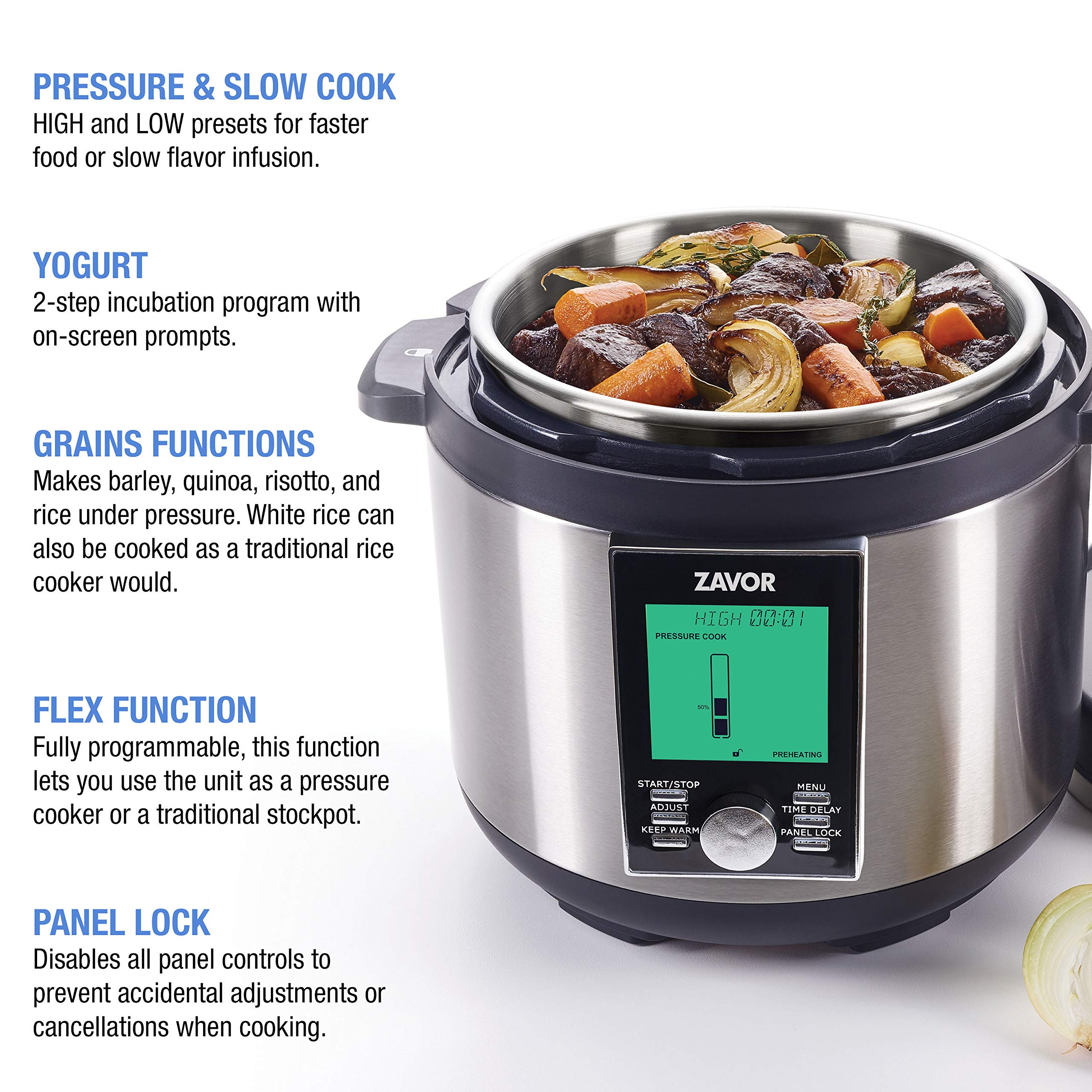 Zavor LUX LCD 8 Quart Programmable Electric Multi-Cooker: Pressure Cooker, Slow Cooker, Rice Cooker, Yogurt Maker, Steamer and more - Stainless Steel (ZSELL03) by ZAVOR (Image #3)