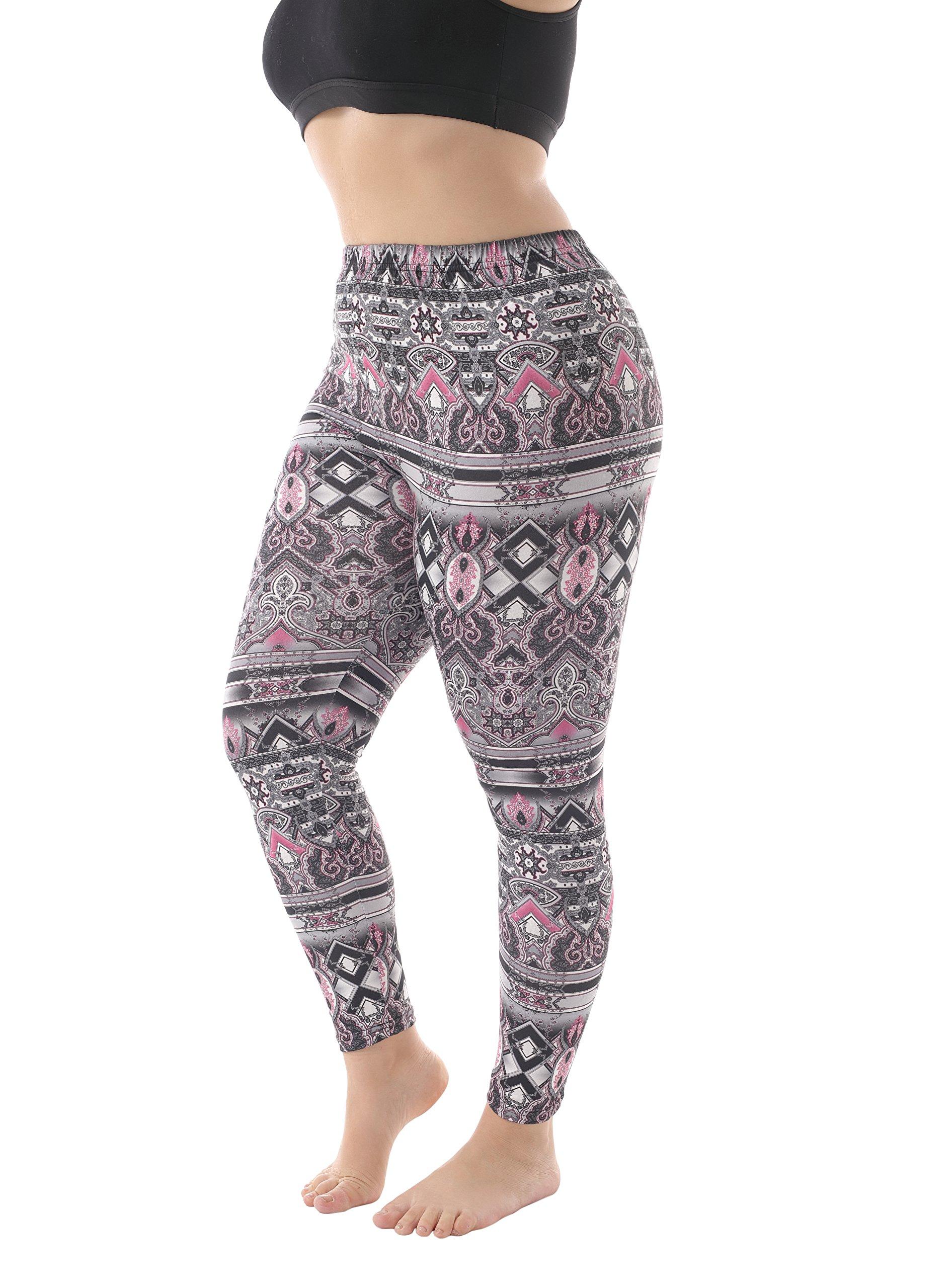 ZERDOCEAN Women's Plus Size Lightweight Printed Leggings for Summer style-001 4X