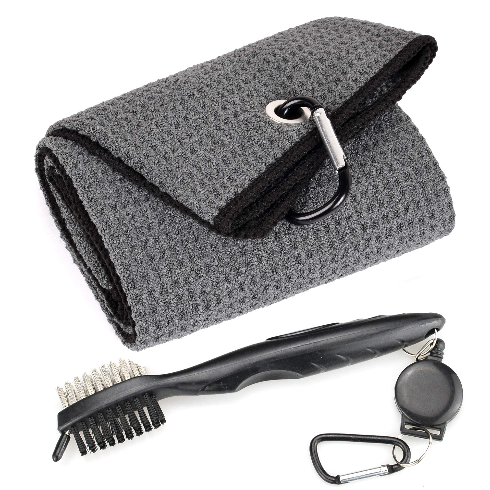 Mile High Life Microfiber Waffle Pattern Tri-fold Golf Towel | Brush Tool Kit with Club Groove Cleaner, Retractable Extension Cord and Clip (Dark Gray Towel+Black Brush) by Mile High Life