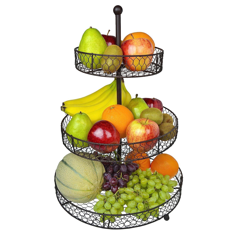 3 Tier Country Rustic Chicken Wire Style Metal Fruit Baskets/Kitchen  Storage Organizer Rack - MyGift