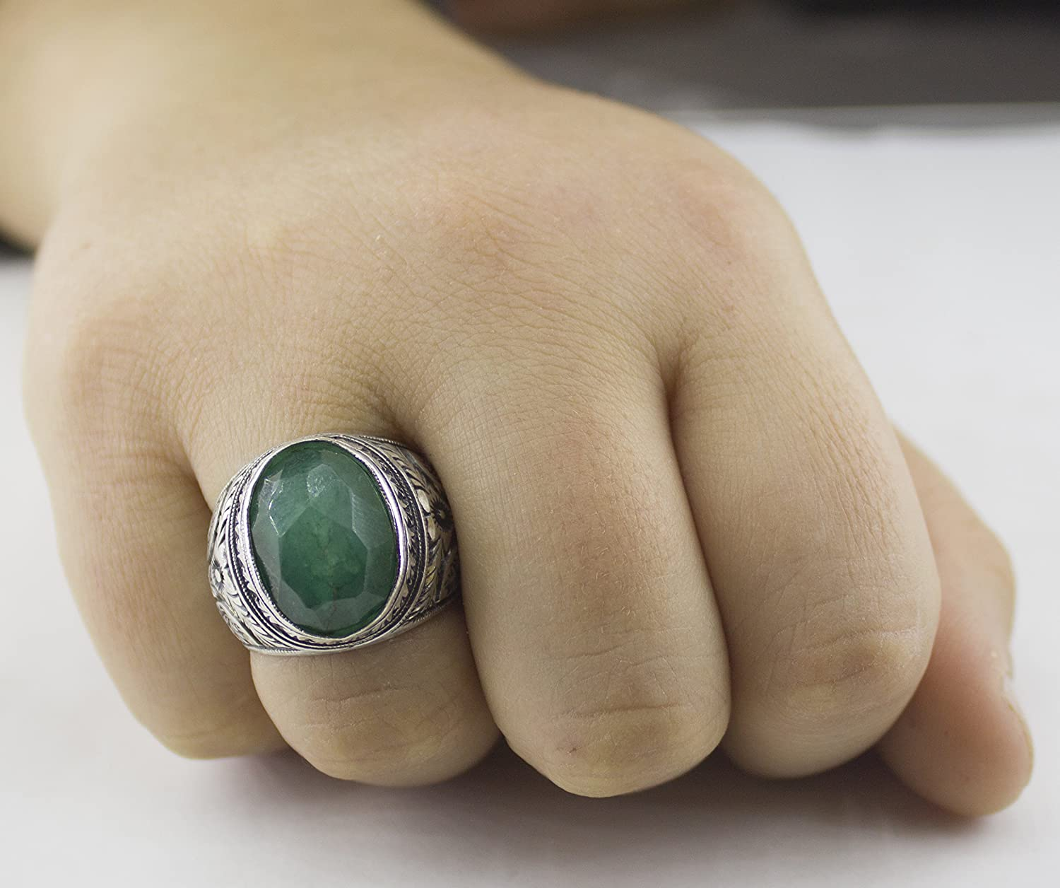 Emerald Natural Gemstone Falcon Jewelry Sterling Silver Men Ring Handmade Steel Pen Crafts