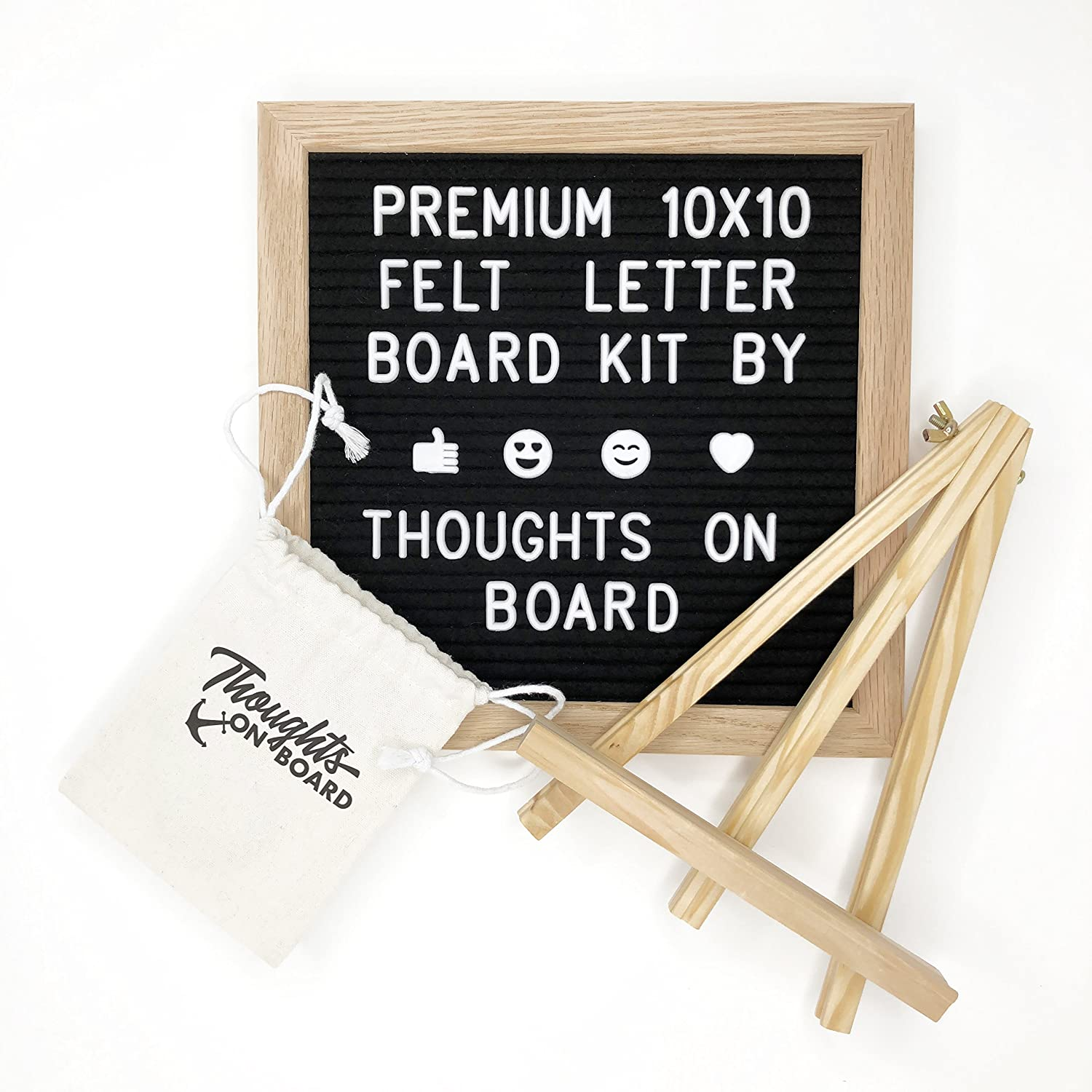 Premium Black Felt Letter Board Kit 10x10 inch, 340 Letters, Numbers & Emoji's. Message Board Sign, Wall Mount, Oak Wood Frame, with Display Stand Canvas Bag & Pair of Scissors - by Thoughts On Board