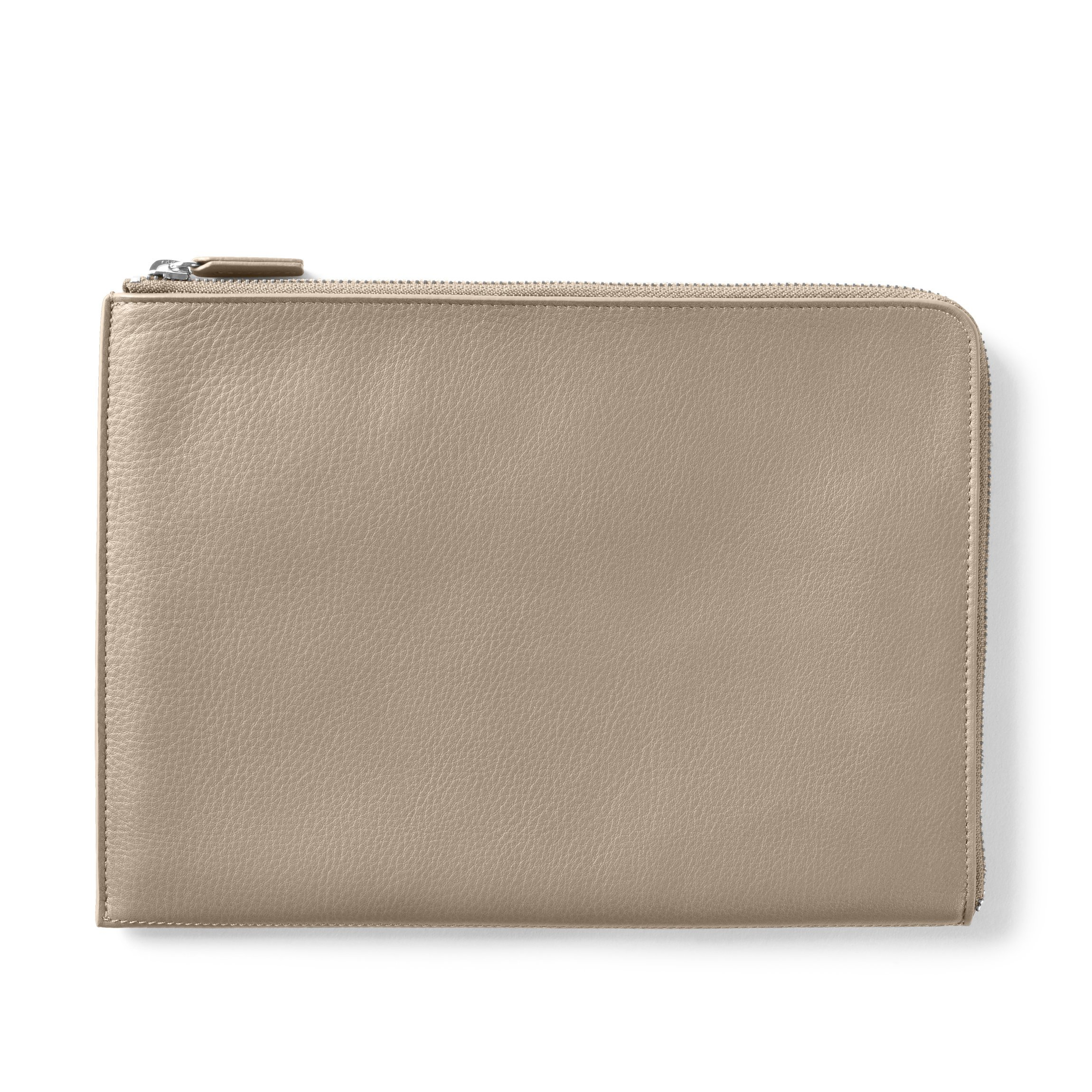Zip Clutch - Full Grain Leather Leather - Ginger (gray)