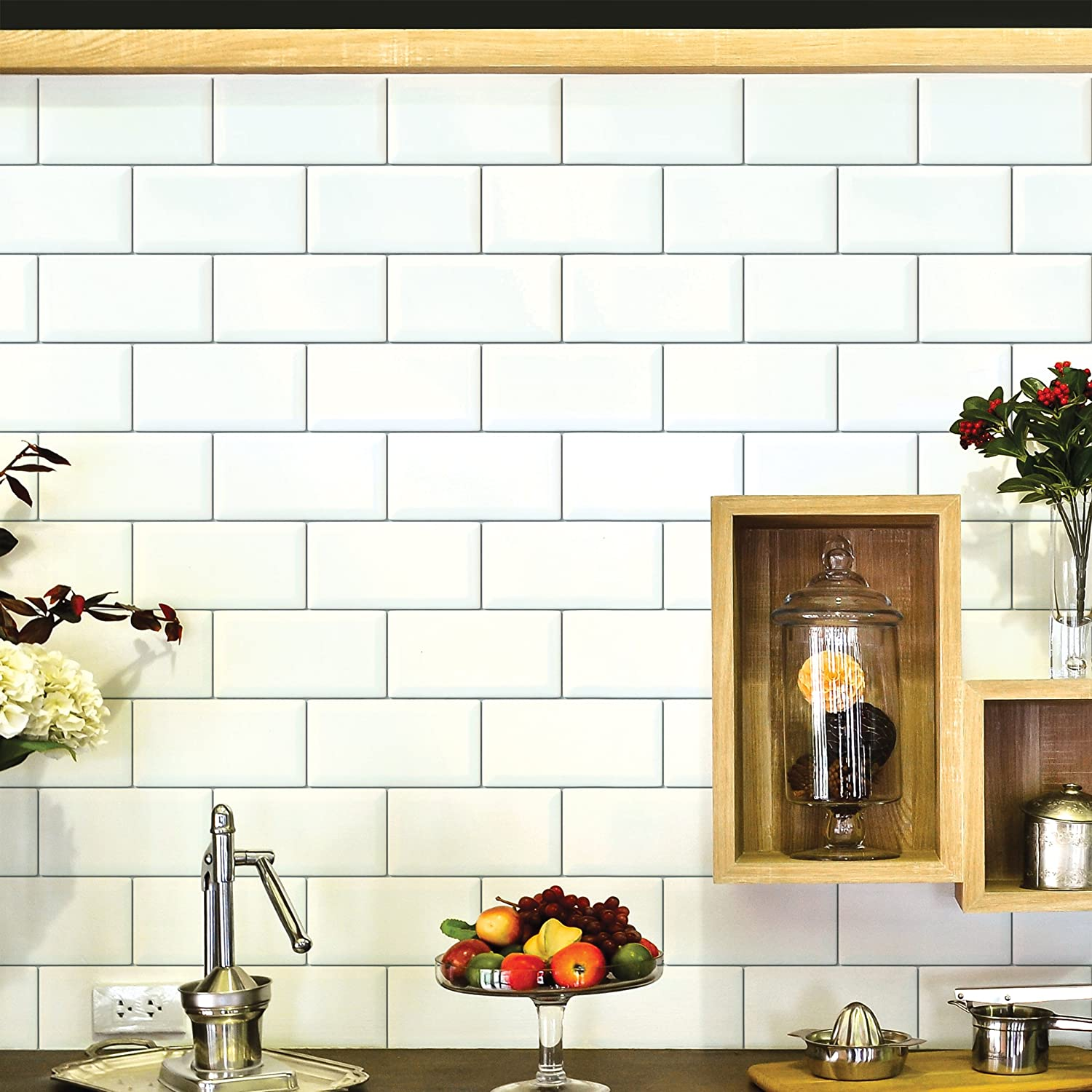 Amazon.com: Wallies Wall Decals, Subway Tiles Wall Stickers, 2 ...
