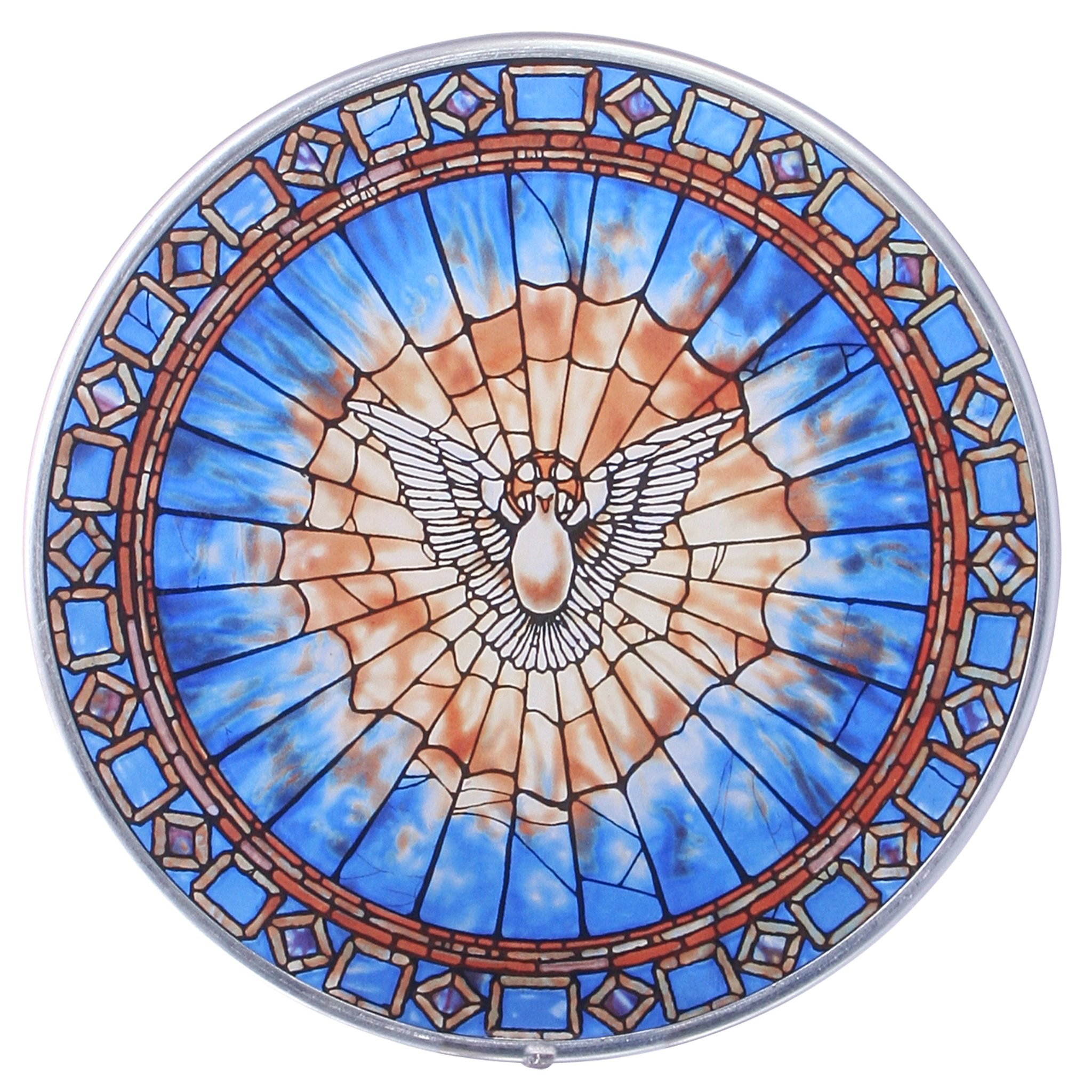 Design Toscano Stained Glass Panel - The Holy Spirit Round Stained Glass Window Hangings - Art Glass Window Treatments
