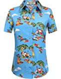 SSLR Women's Santa Claus Holiday Hawaiian Ugly Christmas Shirts