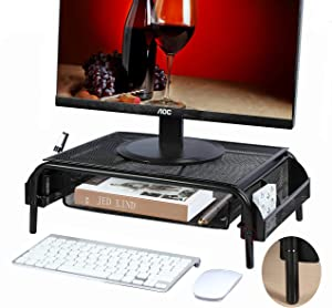 Metal Monitor Stand Riser and Computer Stand Desk Organizer with Drawer, Laptop Stand Riser with 2 Adjustable Heights,Black