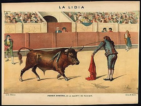 diseño de madera envejecida - Las corridas de toros-tauromachia-pedro Romero-España-Pl. 6-la lídia-1884: Amazon.es: Hogar