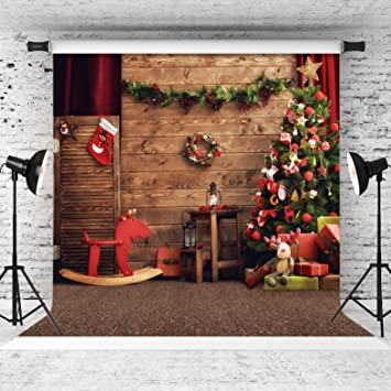 Christmas 10x6.5 FT Vinyl Backdrop PhotographersRustic Wooden Backdrop with Snowflakes and Warm Traditional Celebration Print Background for Party Home Decor Outdoorsy Theme Shoot Props