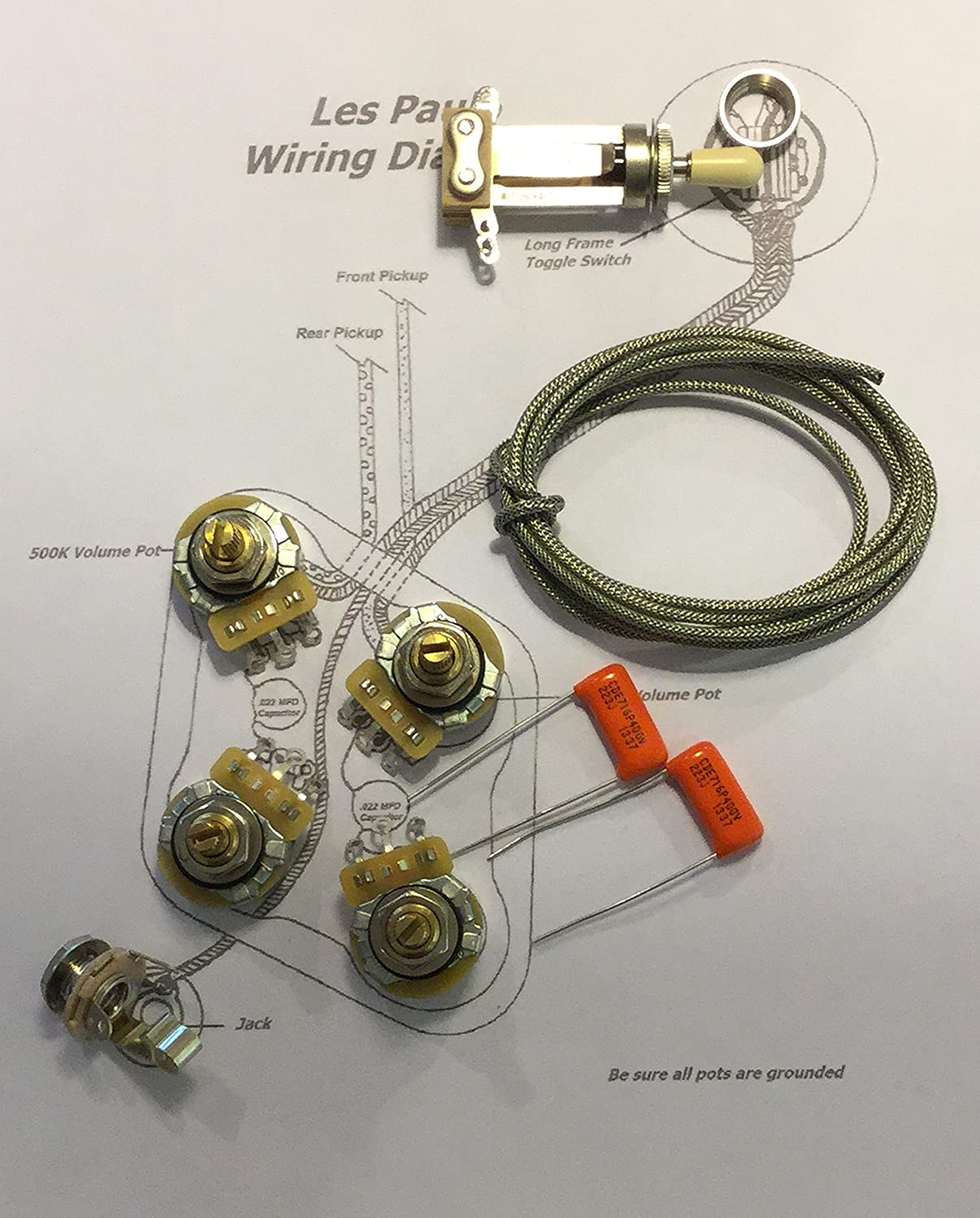 Amazon.com: Deluxe Gibson Les Paul Short Shaft Wiring Kit - CTS 525K Custom  Spec. Pots, .022 716P Orange Drop Film Caps'.: Musical Instruments
