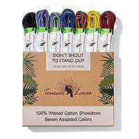 Toucan Laces Dress Shoe Laces for Men in [7 Pairs] of Round Waxed Shoelaces - 100% Cotton - Black Shoe Laces, Brown Shoe Laces, Blue Shoe Lace, Gray Shoelace, Yellow, Burgundy, Purple Shoe Strings