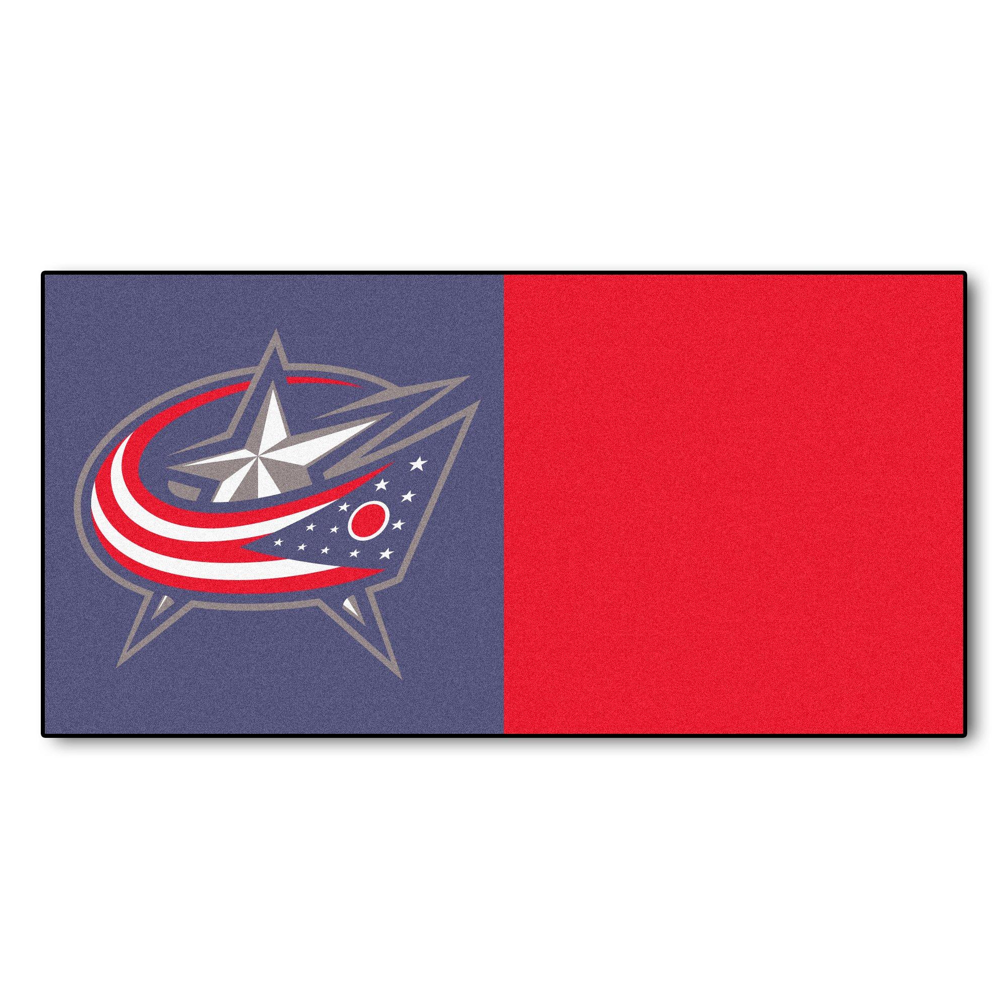 FANMATS NHL Columbus Blue Jackets Nylon Face Team Carpet Tiles by Fanmats
