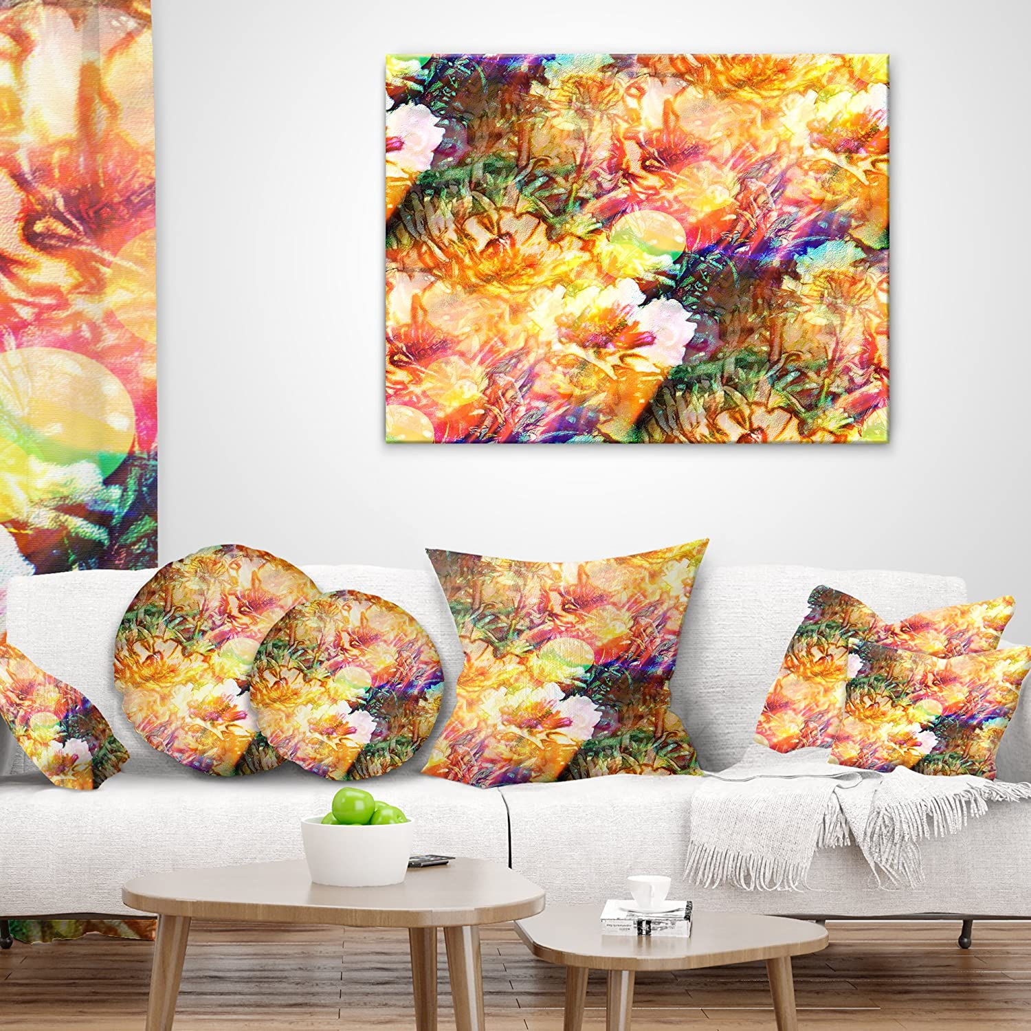 in x 16 in Designart Bokeh Flowers Seamless Floral Throw Pillow 16 in