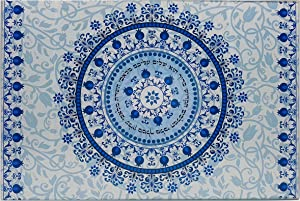 Shabbat Challah Bread Cutting Board and Tray Blue Pomegranate Floral Pattern Tempered Glass Judaica Gift
