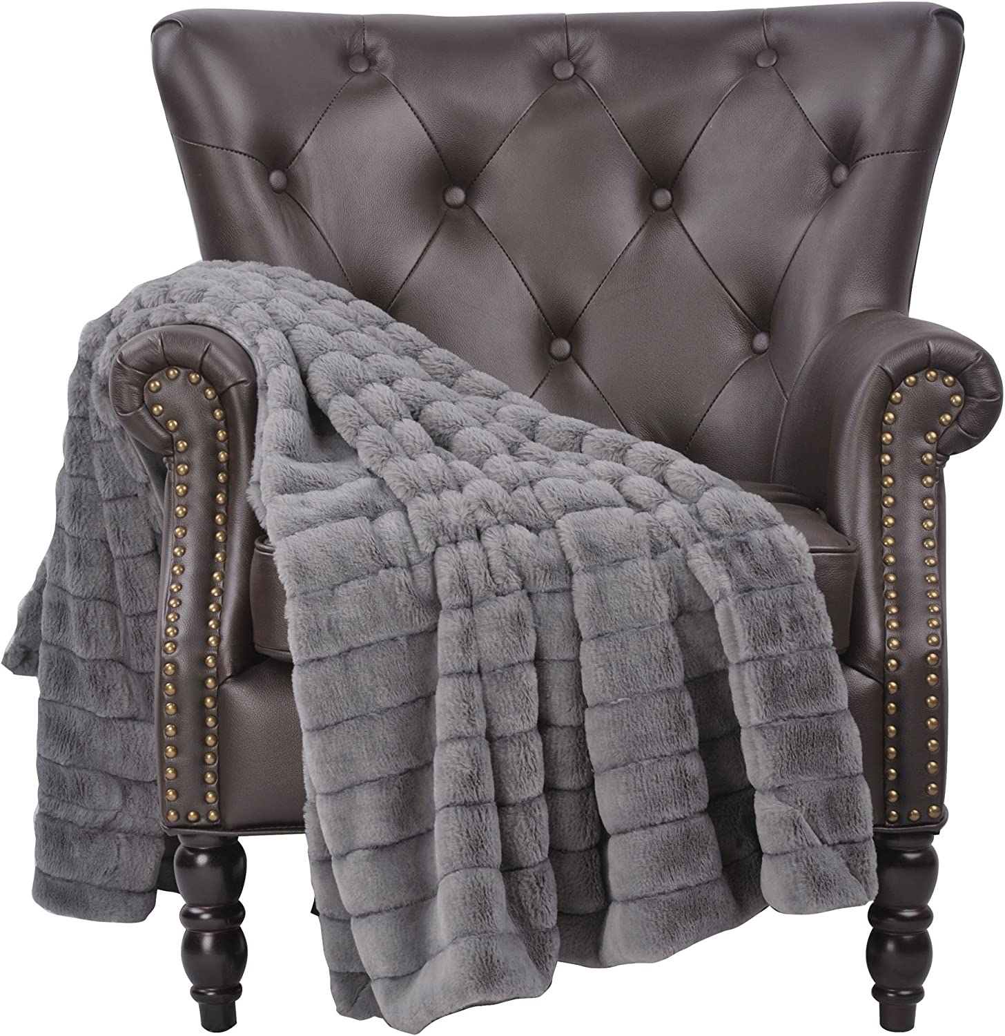 """Home Soft Things Super Mink Faux Fur Throw with Micromink Backing, 60"""" x 80"""", Gray"""