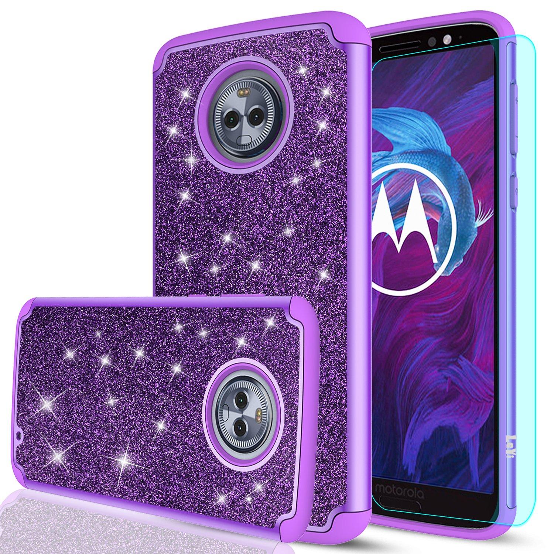 Amazon.com: Moto G6 Plus con purpurina funda con Protector ...