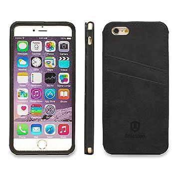 SHIELDON iPhone 6s Plus funda, tapa piel, funda ultra delgada, carcasa cuero original, protector completa, cartera para tarjetas, funda cuero para ...
