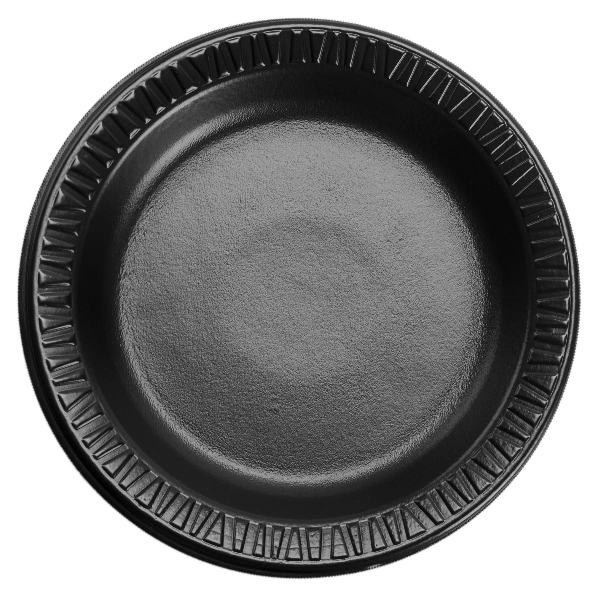 TableTop King 6PBQR Quiet Classic 6'' Black Laminated Round Foam Plate - 1000/Case by TableTop King
