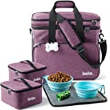 Dog Travel Bag - Dog Travel Kit with 2 Collapsible Silicone Bowls, 2 Food Containers, Multi-Use Pockets for Pet Accessories -