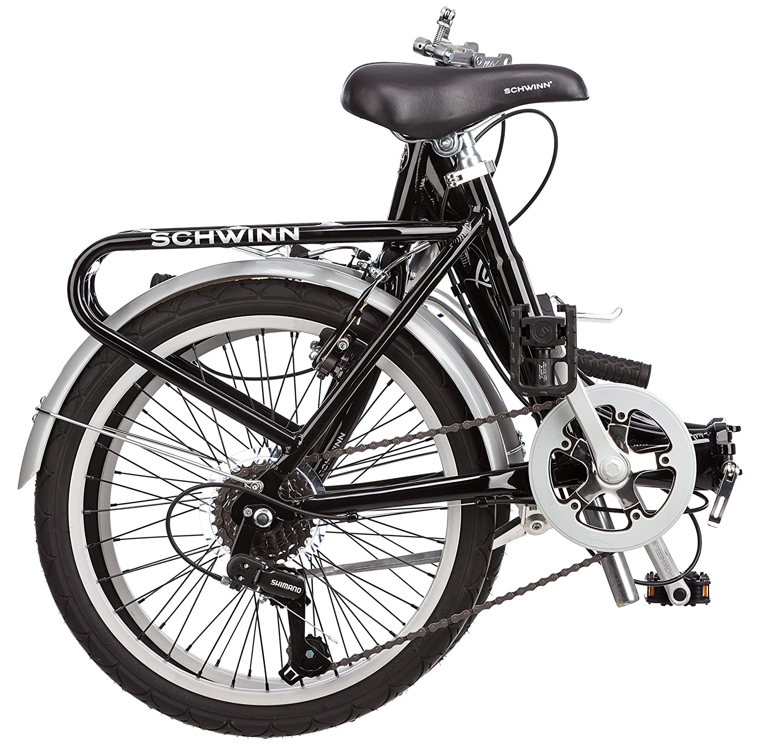 696873d4c86 Amazon.com : Schwinn Loop Folding Bicycle, Featuring Front and Rear  Fenders, Rear Carry Rack, and Kickstand with 7-Speed Drivetrain, Includes  Nylon Carrying ...