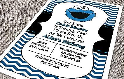 Amazon Com Customized Cookie Monster Birthday Invitation Toys