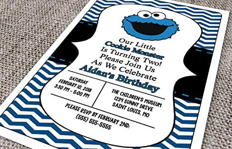 Amazoncom Customized Cookie Monster Birthday Invitation Toys