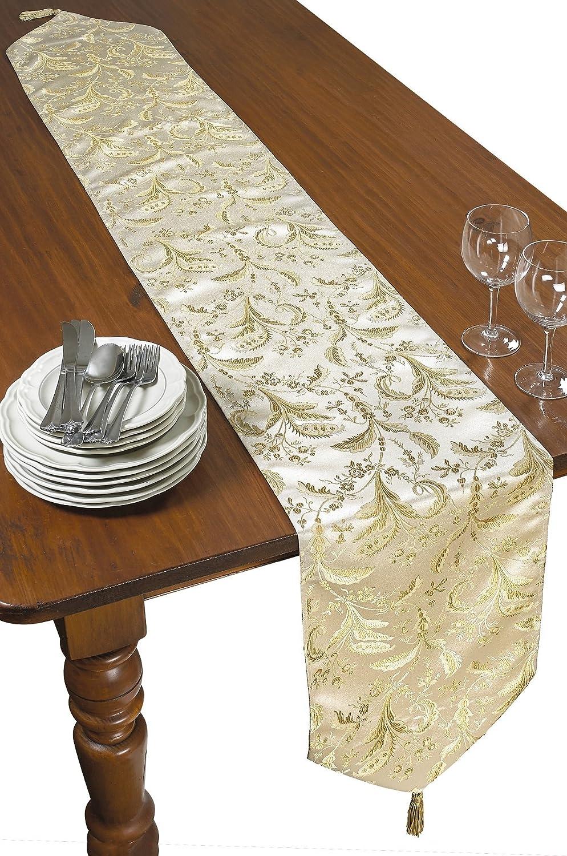 Violet Linen Decorative Luxury Damask Vintage Design Table Runner 13 x 70 Beige