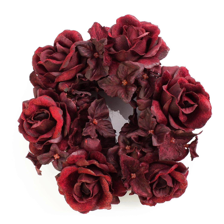 artplants Anello artificiale XXL per candele con fiori di ortensia e teste di rosa, rosso scuro, Ø 15 cm - Corona decorativa/Decorazione candele