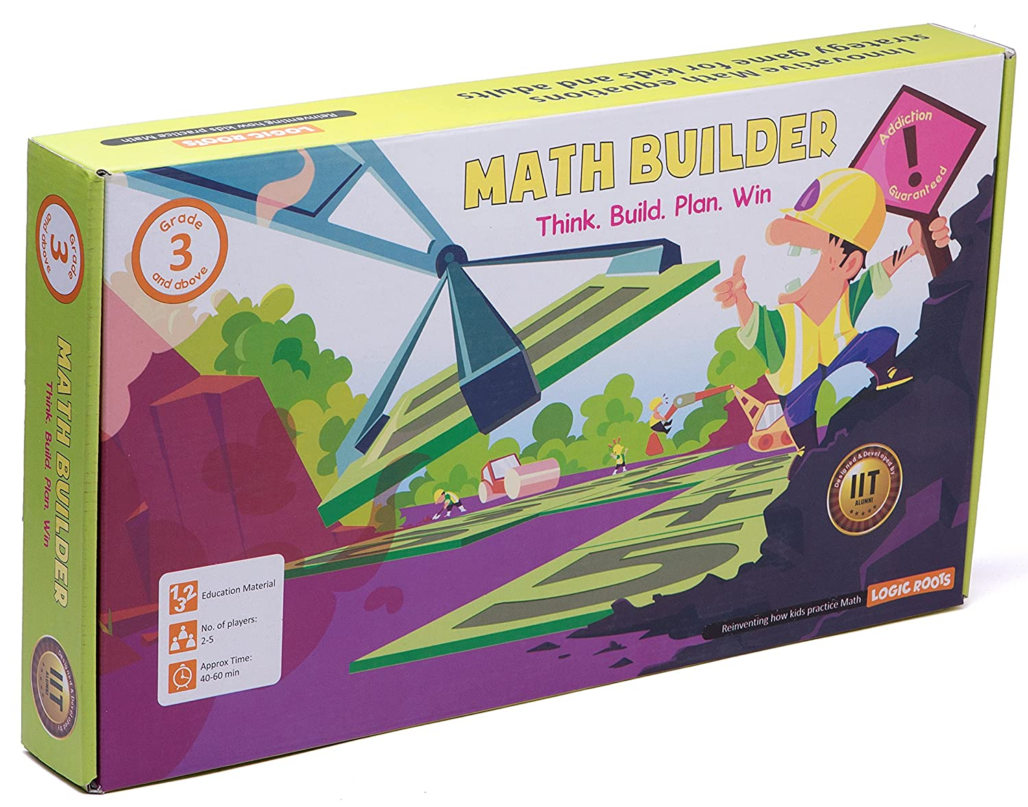 LogicRoots Math Builder Math Games for Fourth Grade with 124 Number Tiles to Build Equations, STEM Kits for Kids Age 8-10